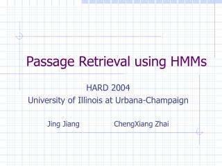 Passage Retrieval using HMMs