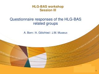 HLG-BAS workshop  Session III