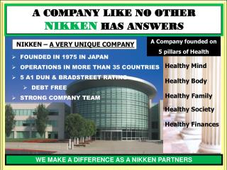 A Company founded on 5 pillars of Health