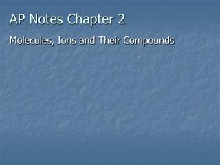 AP Notes Chapter 2