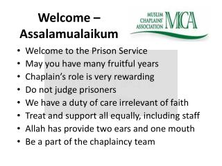 Welcome –  Assalamualaikum