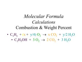 Molecular Formula  Calculations Combustion & Weight Percent