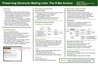 Preserving Electronic Mailing Lists: The H-Net Archive