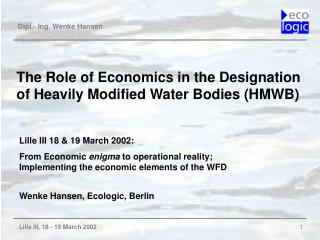 The Role of Economics in the Designation of Heavily Modified Water Bodies (HMWB)