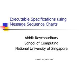 Executable Specifications using Message Sequence Charts