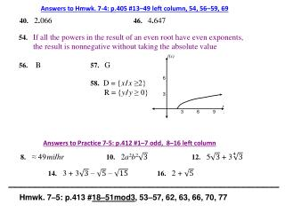 Answers to  Hmwk.  7-4:  p.405 # 13–49  left column, 54, 56–59, 69