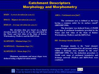 Catchment Descriptors  Morphology and Morphometry