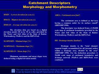 Catchment Descriptors  Morphology and Morphometry