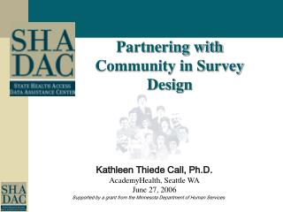 Partnering with Community in Survey Design