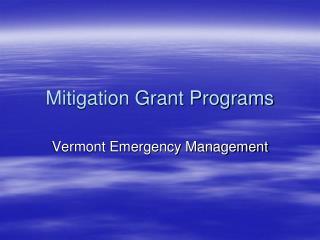 Mitigation Grant Programs
