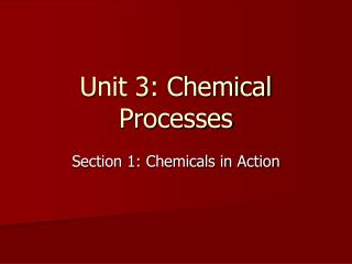 Unit 3: Chemical Processes
