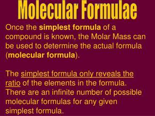 Molecular Formulae