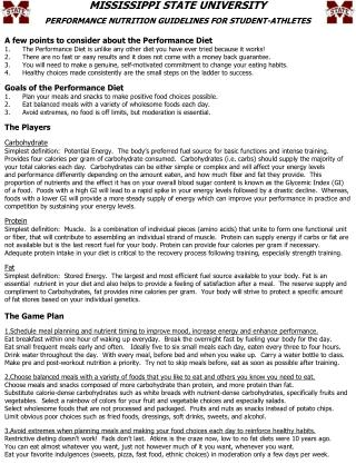 MISSISSIPPI STATE UNIVERSITY PERFORMANCE NUTRITION GUIDELINES FOR STUDENT-ATHLETES