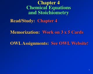 Chapter 4 Chemical Equations and Stoichiometry