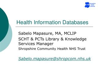 Health Information Databases