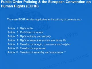 Public Order Policing & the European Convention on Human Rights (ECHR)