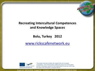 Recreating Intercultural Competences  and Knowledge Spaces Bolu, Turkey   2012