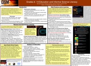 Grades 6 -14 Education and Informal Science Literacy