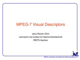 MPEG-7 Visual Descriptors
