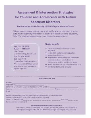 Presented by the University of Washington Autism Center