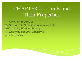 CHAPTER 1�Limits and Their Properties