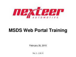 MSDS Web Portal Training