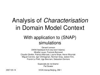 Analysis of  Characterisation in Domain Model Context