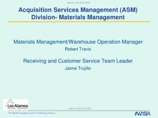 Acquisition Services Management (ASM) Division- Materials Management