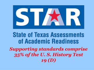Supporting standards comprise 35% of the U. S. History Test 19 (D)