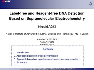 Label-free and Reagent-free DNA Detection Based on Supramolecular Electrochemistry Hiroshi AOKI