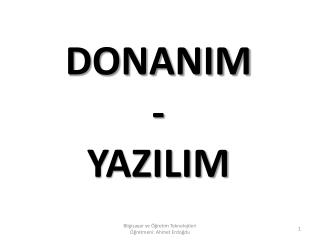 DONANIM - YAZILIM