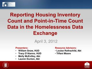 Reporting Housing Inventory Count and Point-in-Time Count Data in the Homelessness Data Exchange