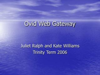 Ovid Web Gateway