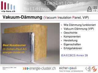 Vakuum-Dämmung  ( V acuum  I nsulation  P anel, VIP)