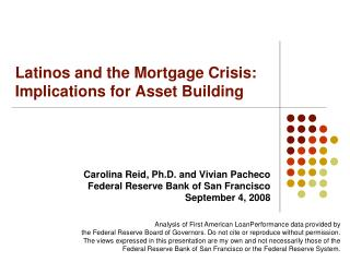 Latinos and the Mortgage Crisis: Implications for Asset Building