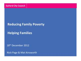 Reducing Family Poverty Helping Families