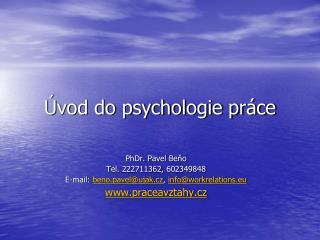 Úvod do psychologie práce