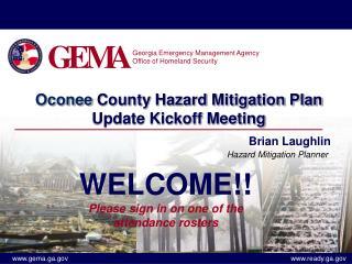 Oconee County Hazard Mitigation Plan Update Kickoff Meeting