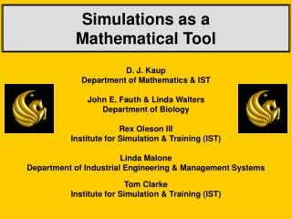 Simulations as a   Mathematical Tool