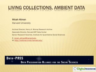 Living Collections, Ambient Data