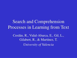 Search and Comprehension Processes in Learning from Text