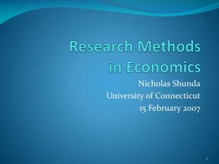 Research Methods  in Economics