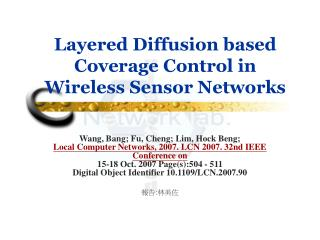 Layered Diffusion based Coverage Control in Wireless Sensor Networks