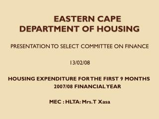 EASTERN CAPE DEPARTMENT OF HOUSING