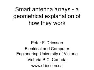 Smart antenna arrays - a geometrical explanation of how they work