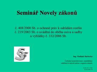 Seminář Novely zákonů