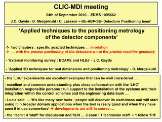 CLIC-MDI meeting 24th of September 2010 – EDMS 1095662