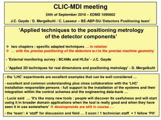 CLIC-MDI meeting 24th of September 2010 – EDMS 1095662
