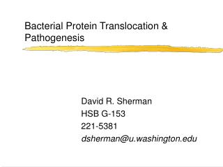 Bacterial Protein Translocation & Pathogenesis