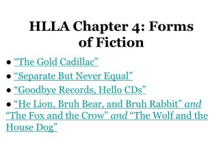 HLLA Chapter 4: Forms of Fiction